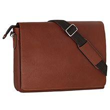 کیف دوشی چرم طبیعی شیفر کد 2632 با ضربه گیر لپ تاپ 15.6 اینچی