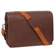 کیف دوشی چرم طبیعی کد 2629 با ضربه گیر لپ تاپ 15.3 اینچی