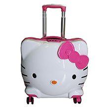 چمدان دخترانه بچه گانه طرح کیتی مدل KIT2260 چهارچرخ