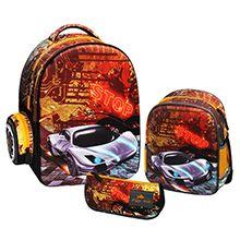 کوله دبستانی پسرانه مدل گلوسی بیرد کد AH101 با جامدادی و کیف دوشی