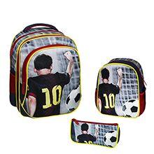 کوله پشتی مدرسه پسرانه طرح مسی مدل AH102 با جامدادی و کیف دوشی